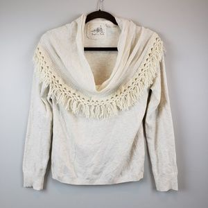 Angel of the North Cowl Neck Fringe Sweater L